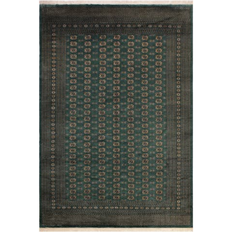 Bokhara Berta Green/Ivory Wool Rug (9'1 x 11'10) - 9 ft. 1 in. x 11 ft. 10 in.