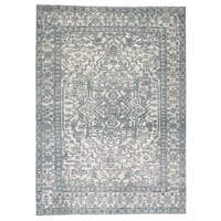 "Germaine Hand-Knotted Medallion Blue/ Ivory Area Rug - 8'10"" x 13'"