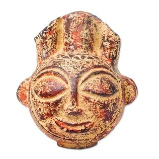 Novica Brown Fiery Warrior Ceramic Vase - Ghana