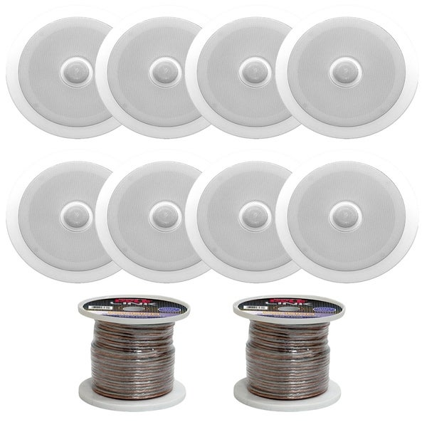 Shop Pyle Pdic80 In Ceiling Dual 8 Speakers With 16 Gauge 200 Ft