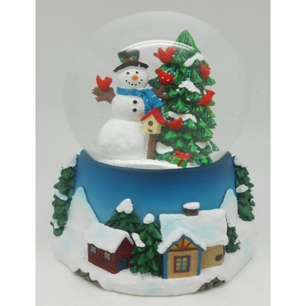 Christmas Tree Not Taking Water.5 Musical Snowman Red Cardinal And Christmas Tree Water Globe