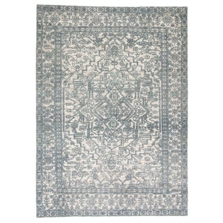 Germaine Hand-Knotted Medallion Blue/ Ivory Area Rug - 5' x 8'