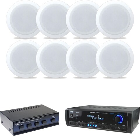 """8"""" Speaker Sys,8Ch Speaker ,Home Theater + Receiver,(2)Mic I/p, 300W"""