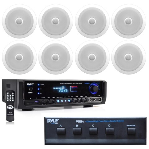 """8""""Speaker Sys,Tweeter(8),2Way Home Theater Bluetooth Receiver,(2)Mic"""