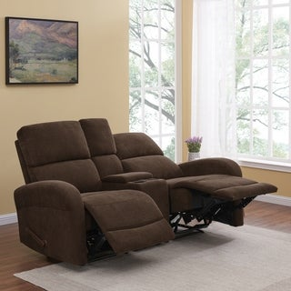ProLounger Brown Chenille 2 Seat Recliner Loveseat with Power Storage Console