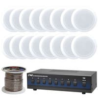 """Pyle PDIC61RD In-Wall / In-Ceiling Dual 6.5"""" 2-Way Flush Mount Speakers with 8 Channel Speaker Selector and 250Ft Speaker Wire"""