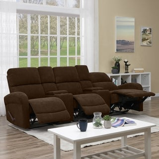 ProLounger Brown Chenille 3 Seat Recliner Sofa with Power Storage Consoles