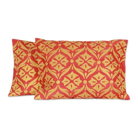 Handmade Golden Harmony Polyester Embroidered Cushion Covers Pair (India)