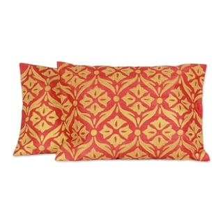 Link to Handmade Golden Harmony Polyester Embroidered Cushion Covers Pair (India) (As Is Item) Similar Items in As Is