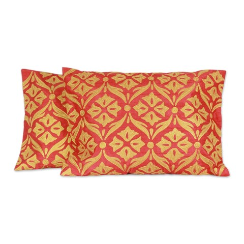 Novica Handmade Golden Harmony Polyester Embroidered Cushion Covers (Pair) - India