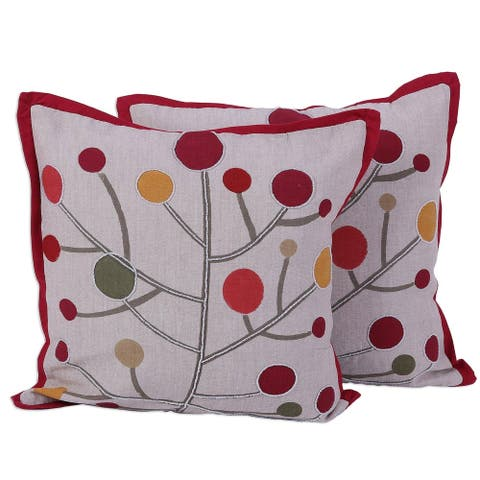 Handmade Lollipop Tree Cotton / Polyester Lining Cushion Cover Pair (India)