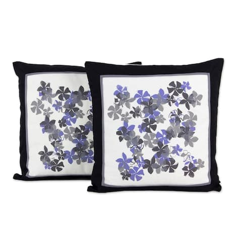 Handmade Plumeria Cotton Cushion Cover Pair (Thailand)
