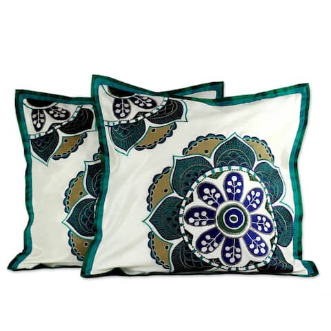 Handmade Teal Bouquet Polyester Applique Cushion Cover Pair (India)