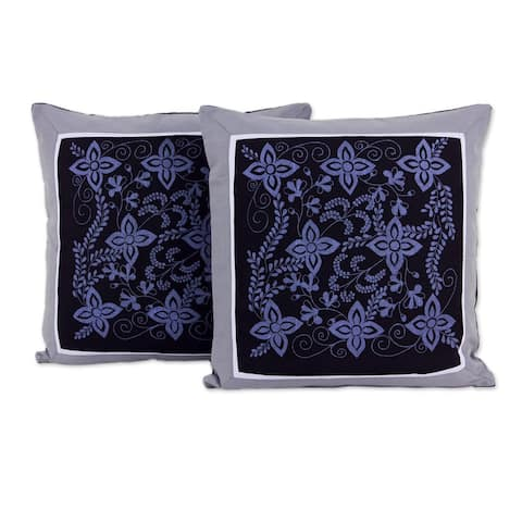 Handmade Cheesewood Floral Cotton Cushion Cover Pair (Thailand)