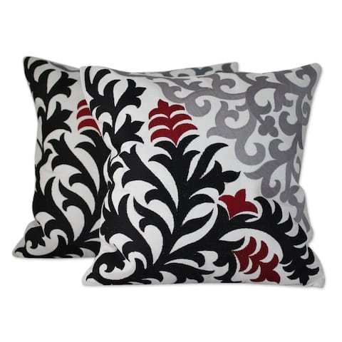 Handmade Heliconia Shadow Cotton/Rayon Trim Cushion Cover Pair (India)