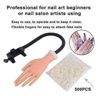 Adjustable Practice Hand Model Nail Art Training Tool With 500 Gel False Tip - skin color