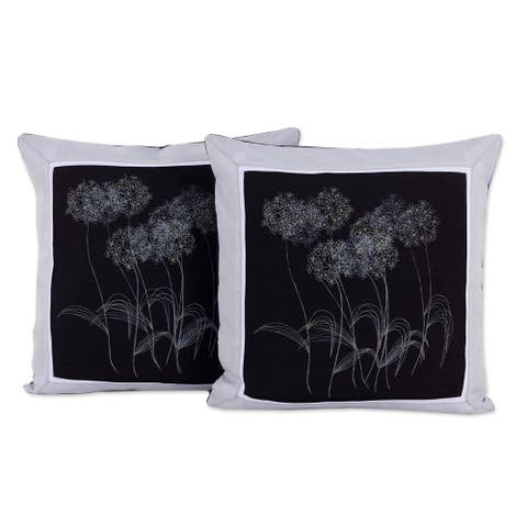 Handmade Agapanthus Floral Cotton Cushion Cover Pair (Thailand)
