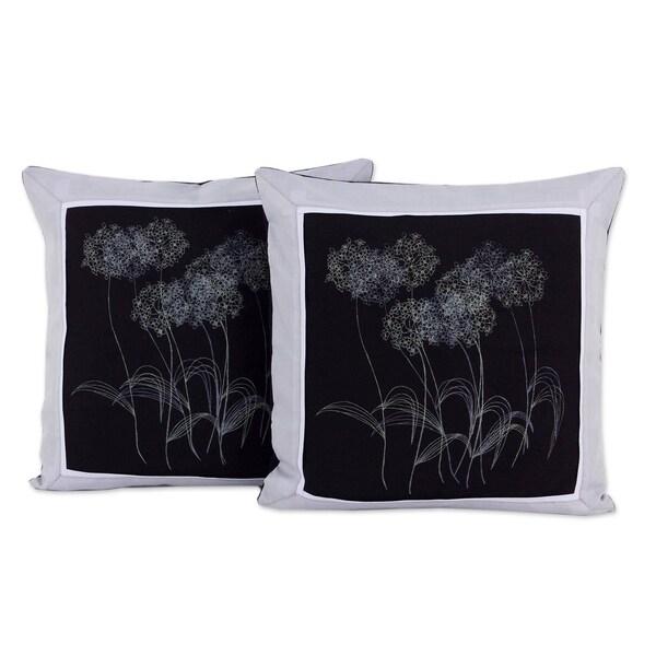 Handmade Agapanthus Floral Cotton Cushion Cover Pair (Thailand)