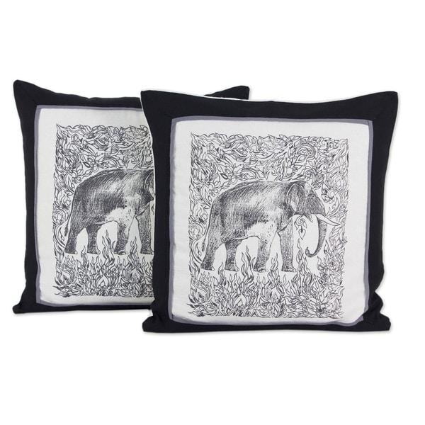 Shop Handmade Elephant Cotton Cushion Cover Pair Thailand