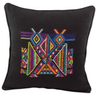Novica Handmade Feathered Dancers Cotton Cushion Cover - Guatemala