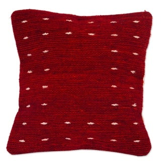 Handmade Dotted Passion In Red Wool With Cotton Back Cushion Cover (Mexico)