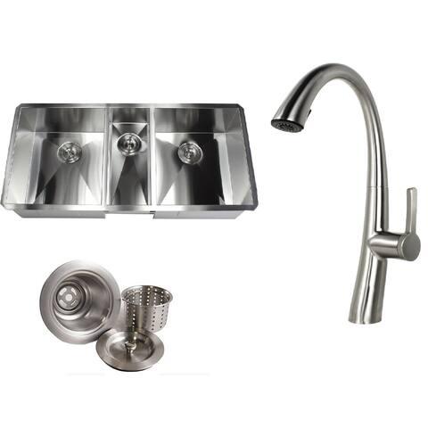 Undermount 42 in. x 20 in. x 10 in. Stainless Steel 16-Gauge Triple Bowl Zero Radius Kitchen Sink&Faucet Combo