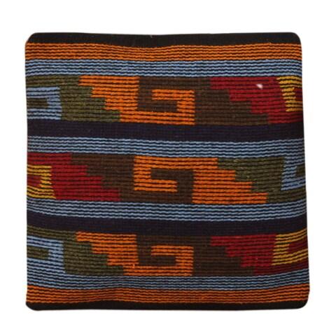 Novica Handmade Zapotec Steps Wool / Cotton Back Cushion Cover - Mexico