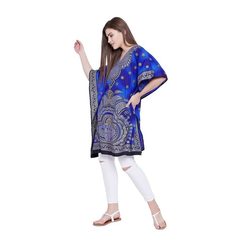 Blue Kaftan Women Ladies Plus Size Tunic Maxi Caftan Beach Long Dress