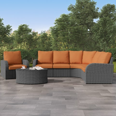 Weather Resistant Charcoal Curved Sectional with Coffee Table Set