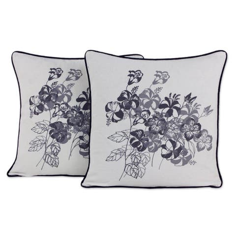 Handmade Hibiscus Cotton Cushion Cover Pair (Thailand)