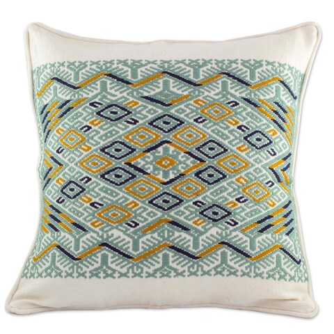 Novica Handmade Ceiba Tree Cotton Cushion Cover - Guatemala