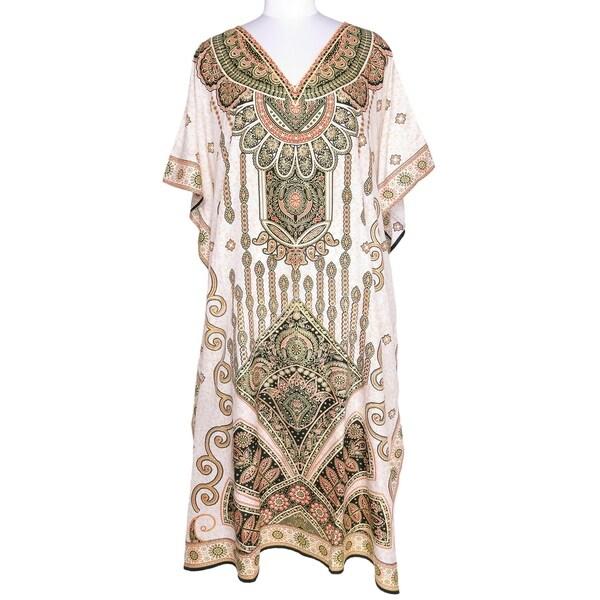 27dfb2fd55e Shop Cream Womens Paisley Kaftan Long Maxi Plus Size Caftan Dresses ...