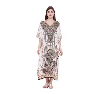 Cream Womens Paisley Kaftan Long Maxi Plus Size Caftan Dresses Ladies