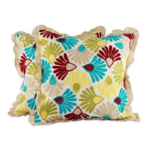 Handmade Floral Delight Polyester Embroidered Cushion Cover (India)