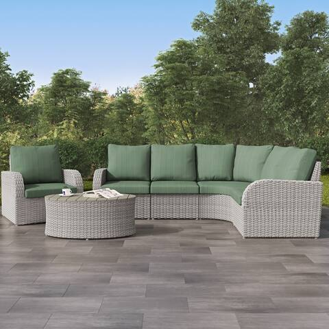 Weather Resistant Blended Grey Curved Sectional with Coffee Table Set