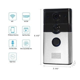 Smart WiFi Wireless Remote Doorbell 720P PIR Motion Detection & Alarm Function - black - au plug