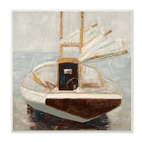 The Stupell Home Décor Collection Muted Neutral Sailboat at Port on a Calm Sea Painting Wall Plaque Art, Proudly Made in USA
