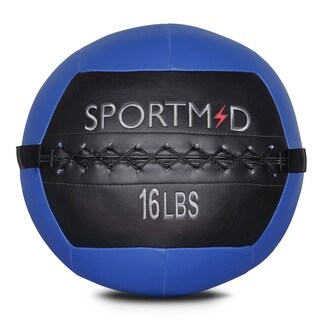 16LBS Blue Soft Medicine Ball Wall Ball for CrossFit Exercises Strength Training Cardio Workouts Muscle Building Balance