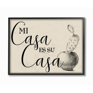 The Stupell Home Décor Collection Mi Casa es Su Casa Tan Spanish Cactus Drawing Framed Art, 11 x 1.5 x 14, Proudly Made in USA