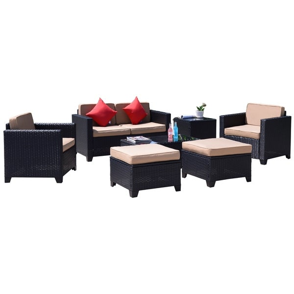 Shop 7pc Rattan Wicker Patio Furniture Set Sofa Loveseat With Single
