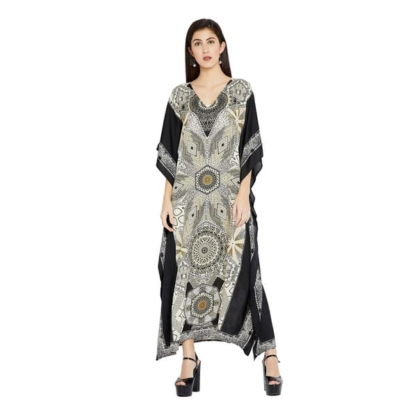 Shop Off-White Kaftan Dresses Geometric Plus Size Caftan ...