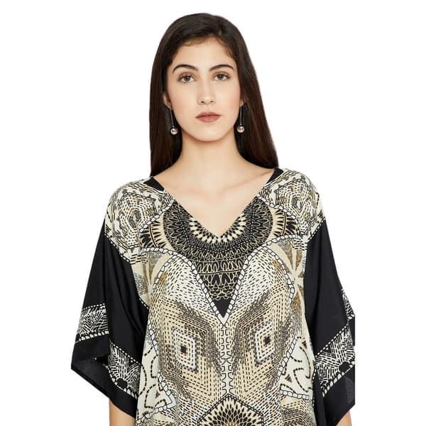 Shop Off-White Kaftan Dresses Geometric Plus Size Caftan ...