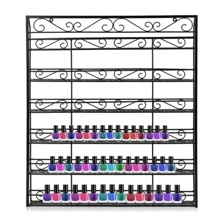 Square 6 Tiers Nail Polish Wall Mount Rack Holder Shelf Up To 180 Bottle - black