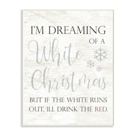The Stupell Home Décor Collection Holiday White Christmas Drink Red Funny Script  Wall Plaque Art, Proudly Made in USA