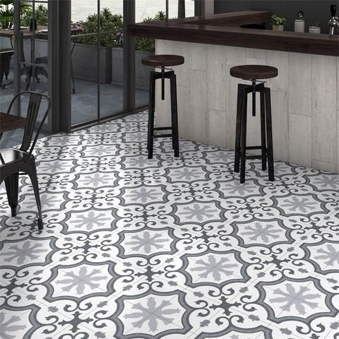 SomerTile 9.75x9.75-inch Garrone Grey Porcelain Floor and Wall Tile (16 tiles/11.11 sqft.)