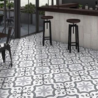 SomerTile 9.75x9.75-inch Garrone Grey Porcelain Floor and Wall Tile (16 tiles/10.76 sqft.)