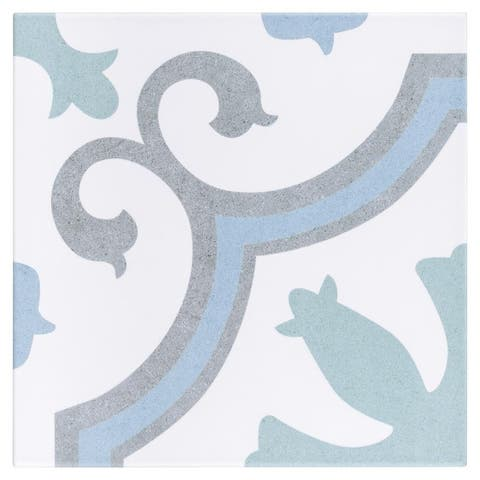 SomerTile 9.75x9.75-inch Garrone Aqua Porcelain Floor and Wall Tile (16 tiles/11.11 sqft.)