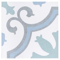 SomerTile 9.75x9.75-inch Garrone Aqua Porcelain Floor and Wall Tile (16 tiles/10.76 sqft.)