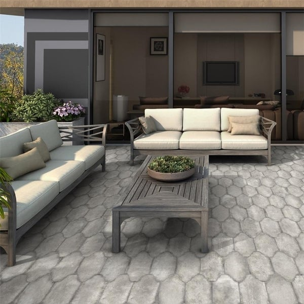SomerTile 6.375x12.875-inch Almeria Provenzal Grey Porcelain Floor and Wall Tile. Opens flyout.