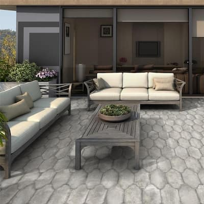 SomerTile 6.375x12.875-inch Almeria Provenzal Grey Porcelain Floor and Wall Tile
